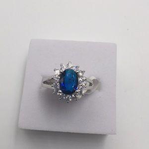 1 CARAT BLUE CZ WHITE CUBIC ZIRCONIA 18KWhite gold